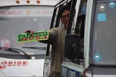 Cobrador advertising the bus route
